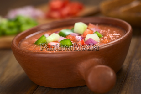 spanish cold vegetable soup called gazpacho