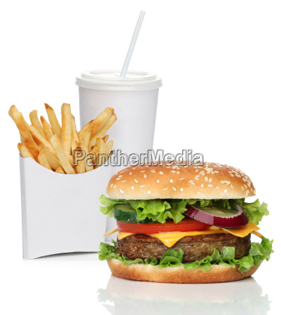 hamburger with french fries and cola