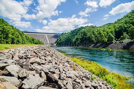 views of man made dam at