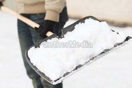 closeup of man shoveling snow from