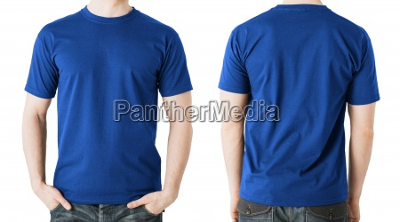 man in blank blue t shirt