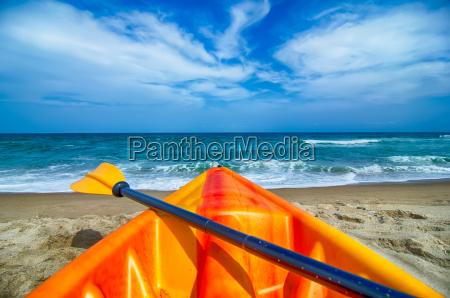 kayak looking at the beach and