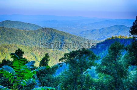 blue ridge parkway national park sunset