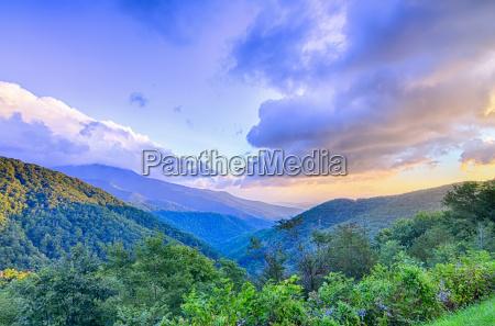 sunrise over blue ridge mountains scenic