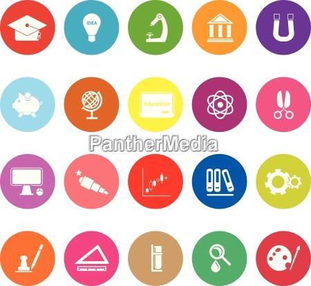 education flat icons on white background