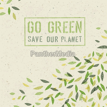 go green concept on recycled paper