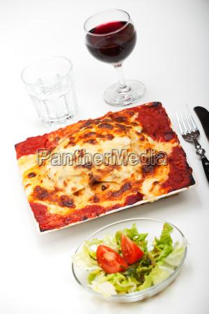 closeup einer lasagne