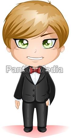 groom dressed in black suite