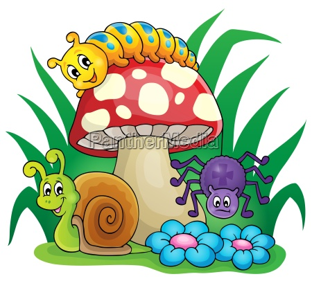 toadstool with small animals