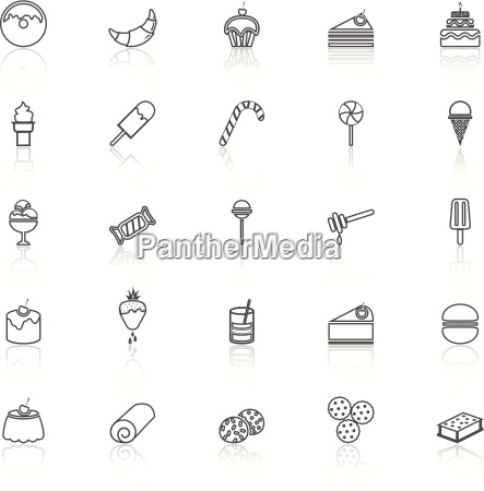 dessert line icons with reflect on