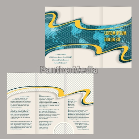 tri fold brochure template with scribbled