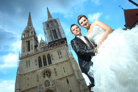 low angle view of newlyweds