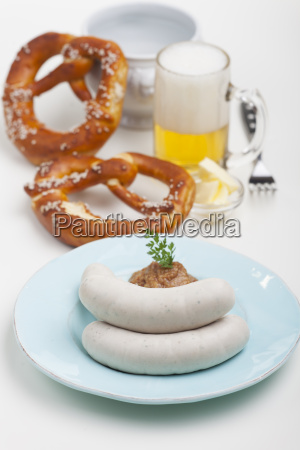 bayerische weisswurst mit senf