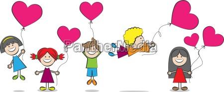 children with heart balloons vector illustration