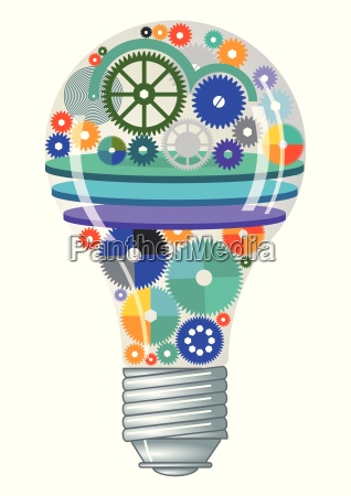 light bulb with gears and cogs