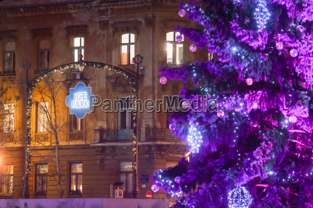 purple christmas tree in zagreb
