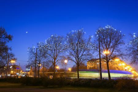 illuminated trees in city