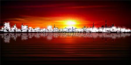 night nighttime sunrise skyline silhouette salt