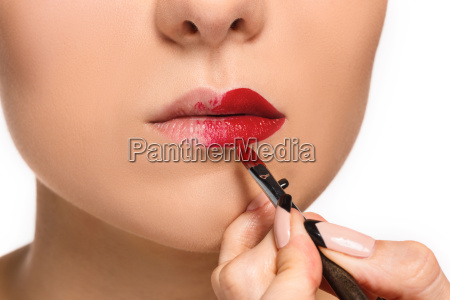 beautiful female lips with make up