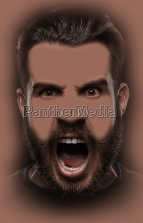 portrait of young screaming man