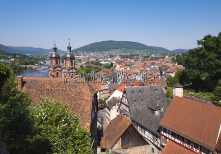 germany view to miltenberg with spires