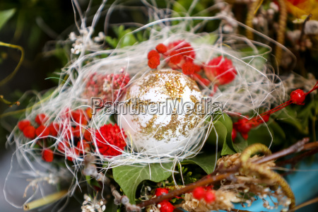 easter egg in floral arrangement