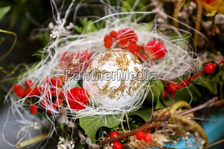 easter egg in floral arrangement