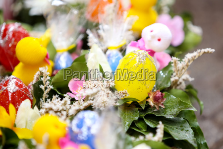 easter eggs arranged with flowers