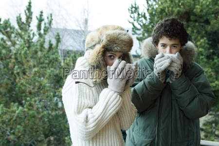 teen boy and girl in winter