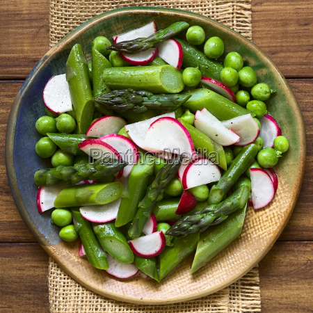 green asparagus radish and pea salad
