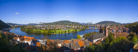 germany bavaria miltenberg cityscape with river