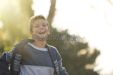 laughing boy outdoors