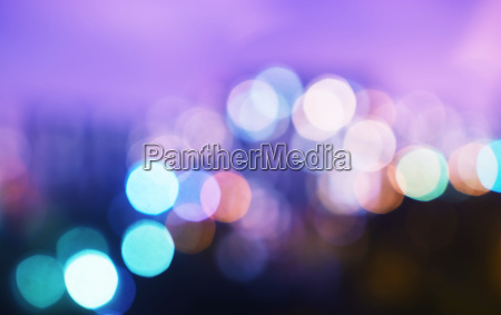 horizontal cold night city bokeh background