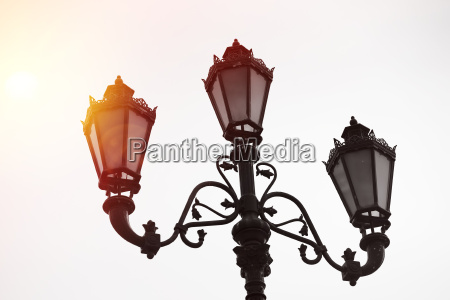 horizontal vintage moscow street lamps background