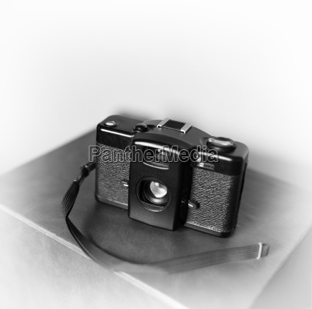 black and white vintage camera with