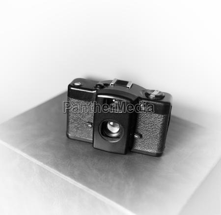 black and white vintage camera vignette