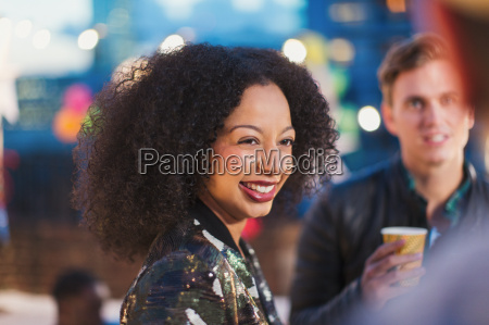 smiling woman enjoying party