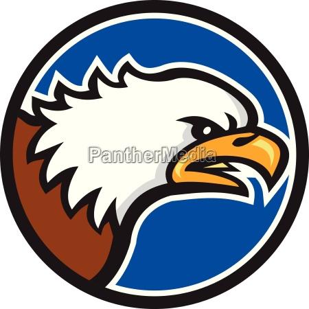 bald eagle head screaming circle retro