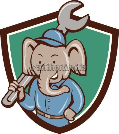 elephant mechanic spanner shoulder crest cartoon
