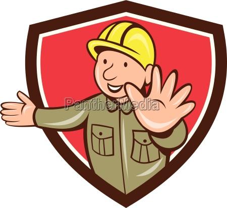 builder hand stop signal crest cartoon