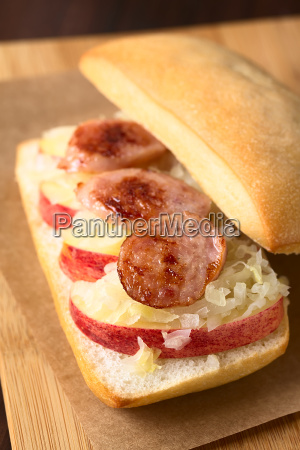 apple sauerkraut bratwurst sandwich