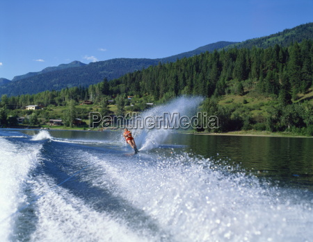 waterskiing on adams lake british columbia
