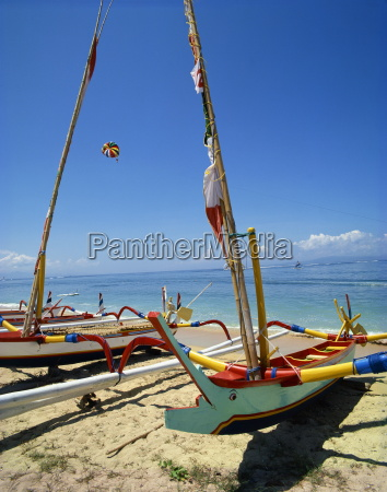 prahu boats sanur beach bali indonesia