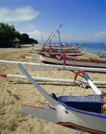 prahu local outrigger boats sanur beach