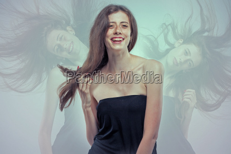 the young womans portrait with happy