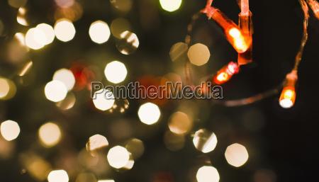 close up defocused christmas lights