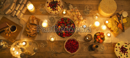 overhead view candlelight table with christmas