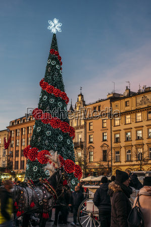 christmas tree in town square cracow