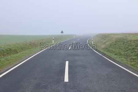 rural road on foggy spring morning