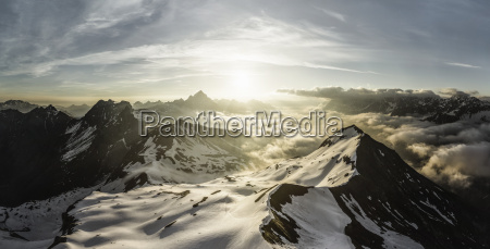 view of bavarian alps at sunrise